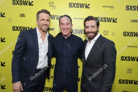 """Stock Picture of Ryan Reynolds, Director Daniel Espinosa and Jake Gyllenhaal seen at Columbia Pictures World Premiere of """"Life"""" the movie at SXSW 2017, in Austin, TX"""