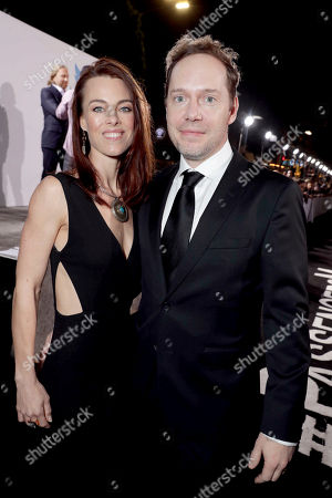 "Johanna Watts and Writer/Actor/Executive Producer Jon Spaihts seen at Columbia Pictures World Premiere of ""Passengers"" at Regency Village Theatre, in Los Angeles"