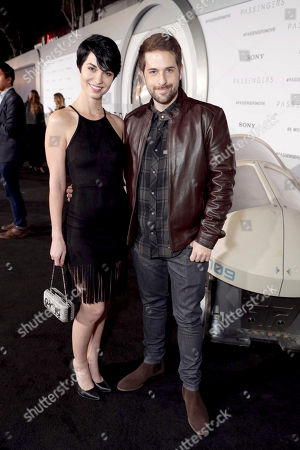 """Pamela Horton and Ian Hecox seen at Columbia Pictures World Premiere of """"Passengers"""" at Regency Village Theatre, in Los Angeles"""
