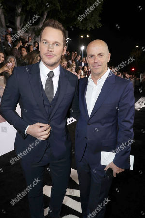 """Chris Pratt and Producer Neal H. Moritz seen at Columbia Pictures World Premiere of """"Passengers"""" at Regency Village Theatre, in Los Angeles"""