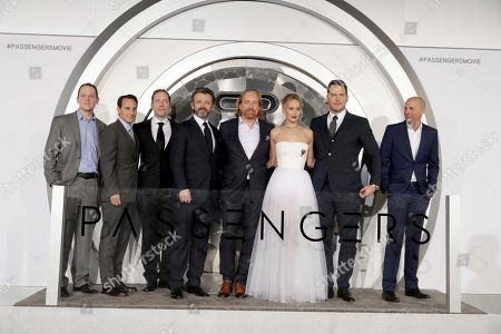 "Producer Michael Maher, Producer Ori Marmur, Writer/Actor/Executive Producer Jon Spaihts, Michael Sheen, Director Morten Tyldum, Jennifer Lawrence, Chris Pratt and Producer Neal H. Moritz seen at Columbia Pictures World Premiere of ""Passengers"" at Regency Village Theatre, in Los Angeles"