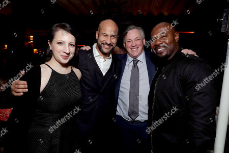 """Elisa Pugliese, Keegan-Michael Key, Antoine Fuqua and Executive Producer David B. Householter seen at Columbia Pictures World Premiere of """"Passengers"""" at Regency Village Theatre, in Los Angeles"""