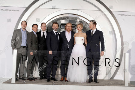 "Producer Michael Maher, Producer Ori Marmur, Writer/Actor/Executive Producer Jon Spaihts, Michael Sheen, Director Morten Tyldum, Jennifer Lawrence and Chris Pratt seen at Columbia Pictures World Premiere of ""Passengers"" at Regency Village Theatre, in Los Angeles"