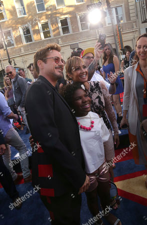 "Robert Downey Jr., from left, Trinitee Stokes and Tammy Townsend seen at Columbia Pictures World Premiere of ""Spider-Man: Homecoming"" at TCL Chinese Theatre, in Hollywood, CA"