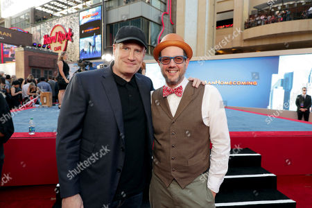 """Executive Producer Kevin Feige, President of Marvel Studios, and Composer Michael Giacchino seen at Columbia Pictures World Premiere of """"Spider-Man: Homecoming"""" at TCL Chinese Theatre, in Hollywood, CA"""