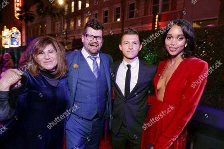 """Producer Amy Pascal, Co-Producer Eric Hauserman Carroll, Tom Holland and Laura Harrier seen at Columbia Pictures World Premiere of """"Spider-Man: Homecoming"""" after party, in Hollywood, CA"""