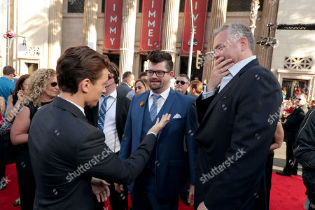 """Tom Holland, Co-Producer Eric Hauserman Carroll and Screenwriter Chris McKenna seen at Columbia Pictures World Premiere of """"Spider-Man: Homecoming"""" at TCL Chinese Theatre, in Hollywood, CA"""