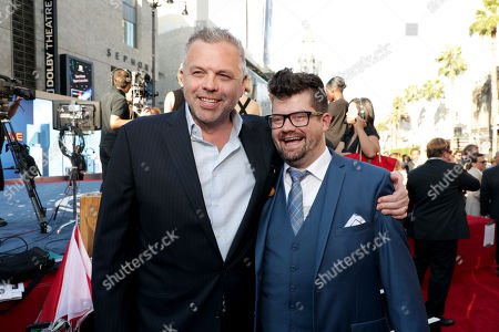 """Screenwriter Chris McKenna and Co-Producer Eric Hauserman Carroll seen at Columbia Pictures World Premiere of """"Spider-Man: Homecoming"""" at TCL Chinese Theatre, in Hollywood, CA"""