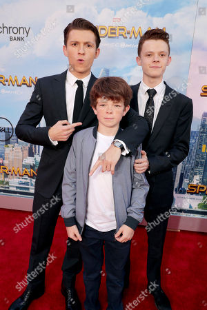 """Tom Holland, Sam Holland and Harry Holland seen at Columbia Pictures World Premiere of """"Spider-Man: Homecoming"""" at TCL Chinese Theatre, in Hollywood, CA"""