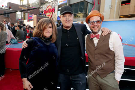 """Producer Amy Pascal, Executive Producer Kevin Feige, President of Marvel Studios, and Composer Michael Giacchino seen at Columbia Pictures World Premiere of """"Spider-Man: Homecoming"""" at TCL Chinese Theatre, in Hollywood, CA"""