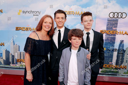 "Nicola Elizabeth Frost, Tom Holland, Sam Holland and Harry Holland seen at Columbia Pictures World Premiere of ""Spider-Man: Homecoming"" at TCL Chinese Theatre, in Hollywood, CA"