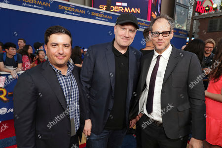 """Josh Greenstein, President, Sony Pictures Worldwide Marketing & Distribution, Executive Producer Kevin Feige, President of Marvel Studios, Sanford Panitch, President, Columbia Pictures, Sony Pictures Entertainment, seen at Columbia Pictures World Premiere of """"Spider-Man: Homecoming"""" at TCL Chinese Theatre, in Hollywood, CA"""