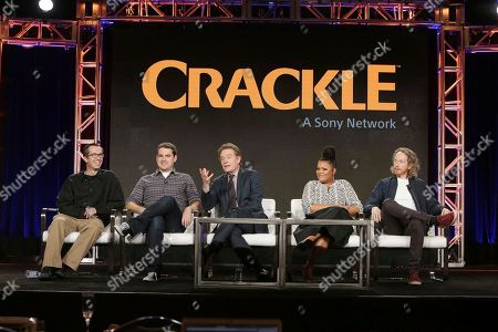 Creator/Exec. Producer Matthew Senriech, Tucker Gilmore, Bryan Cranston, Yvette Nicole Brown and Creator/Exec. Producer Zeb Wells seen at Crackle 2017 Winter TCA at The Langham Huntington Hotel, in Pasadena, Calif