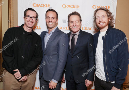 Exclusive - Creator/Exec. Producer Matthew Senreich, Crakle - GM Eric Berger, Bryan Cranston and Creator/Exec. Producer Zeb Wells seen at Crackle 2017 Winter TCA at The Langham Huntington Hotel, in Pasadena, Calif