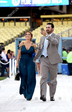 Stock Picture of Betsy Gonzalez, left, and Adrian Gonzalez are seen at the Los Angeles Dodgers Foundation Blue Diamond Gala 2017 at Dodgers Stadium, in Los Angeles