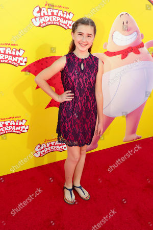 """Stock Image of Hadley Belle Miller seen at DreamWorks Animation and Twentieth Century Fox """"Captain Underpants: The First Epic Movie"""" Los Angeles Premiere at Regency Village Theater, in Los Angels"""