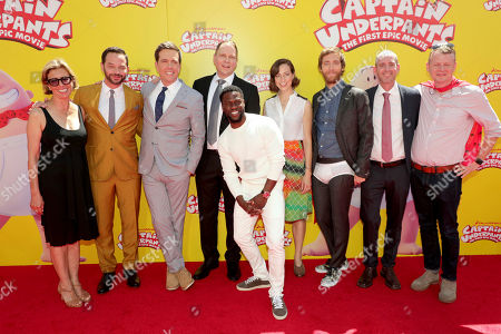 """Stock Photo of Mireille Soria, Co-President of Feature Animation at DreamWorks Animation, Nick Kroll, Ed Helms, Author Dav Pilkey, Kevin Hart, Kristen Schaal, Thomas Middleditch, Director David Soren and Producer Mark Swift seen at DreamWorks Animation and Twentieth Century Fox """"Captain Underpants: The First Epic Movie"""" Los Angeles Premiere at Regency Village Theater, in Los Angels"""