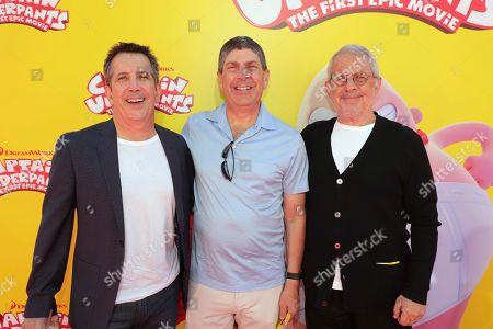 """Chris DeFaria, President, DreamWorks Feature Animation Group, Jeff Shell, Chairman of Universal Filmed Entertainment Group, and Ron Meyer, Vice Chairman of NBCUniversal, seen at DreamWorks Animation and Twentieth Century Fox """"Captain Underpants: The First Epic Movie"""" Los Angeles Premiere at Regency Village Theater, in Los Angels"""