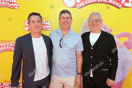 """Stock Image of Chris DeFaria, President, DreamWorks Feature Animation Group, Jeff Shell, Chairman of Universal Filmed Entertainment Group, and Ron Meyer, Vice Chairman of NBCUniversal, seen at DreamWorks Animation and Twentieth Century Fox """"Captain Underpants: The First Epic Movie"""" Los Angeles Premiere at Regency Village Theater, in Los Angels"""