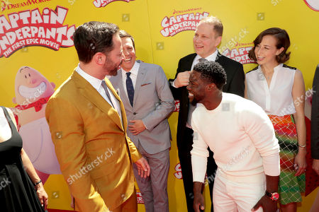 """Nick Kroll, Ed Helms, Author Dav Pilkey, Kristen Schaal and Kevin Hart seen at DreamWorks Animation and Twentieth Century Fox """"Captain Underpants: The First Epic Movie"""" Los Angeles Premiere at Regency Village Theater, in Los Angels"""