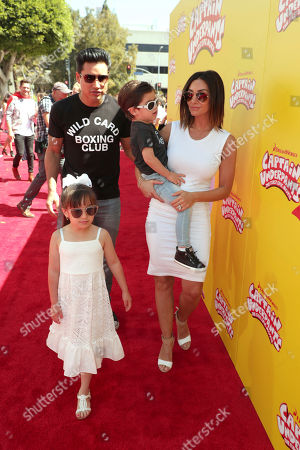 "Mario Lopez, Gia Francesca Lopez, Dominic Lopez and Courtney Laine Mazza seen at DreamWorks Animation and Twentieth Century Fox ""Captain Underpants: The First Epic Movie"" Los Angeles Premiere at Regency Village Theater, in Los Angels"