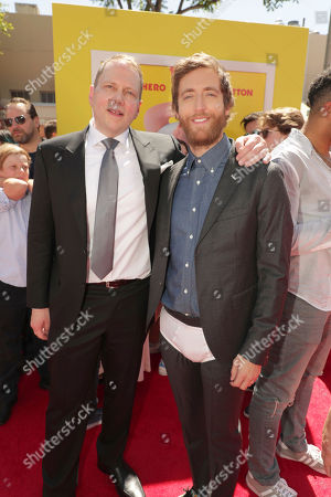 """Author Dav Pilkey and Thomas Middleditch seen at DreamWorks Animation and Twentieth Century Fox """"Captain Underpants: The First Epic Movie"""" Los Angeles Premiere at Regency Village Theater, in Los Angels"""