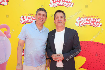 """Jeff Shell, Chairman of Universal Filmed Entertainment Group, and Chris DeFaria, President, DreamWorks Feature Animation Group, seen at DreamWorks Animation and Twentieth Century Fox """"Captain Underpants: The First Epic Movie"""" Los Angeles Premiere at Regency Village Theater, in Los Angels"""