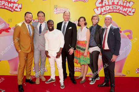 """Nick Kroll, Ed Helms, Kevin Hart, Author Dav Pilkey, Kristen Schaal, Thomas Middleditch and Director David Soren seen at DreamWorks Animation and Twentieth Century Fox """"Captain Underpants: The First Epic Movie"""" Los Angeles Premiere at Regency Village Theater, in Los Angels"""