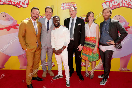 """Nick Kroll, Ed Helms, Kevin Hart, Author Dav Pilkey, Kristen Schaal and Thomas Middleditch seen at DreamWorks Animation and Twentieth Century Fox """"Captain Underpants: The First Epic Movie"""" Los Angeles Premiere at Regency Village Theater, in Los Angels"""
