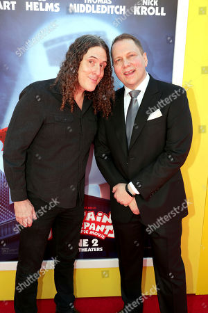 """Weird Al"""" Yankovic and Author Dav Pilkey seen at DreamWorks Animation and Twentieth Century Fox """"Captain Underpants: The First Epic Movie"""" Los Angeles Premiere at Regency Village Theater, in Los Angels"""