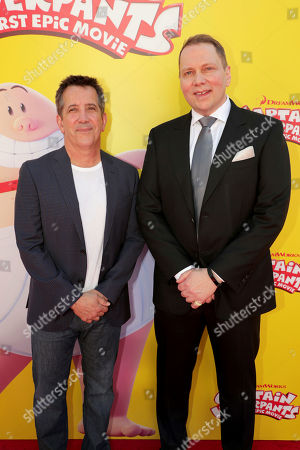 """Chris DeFaria, President, DreamWorks Feature Animation Group, and Author Dav Pilkey seen at DreamWorks Animation and Twentieth Century Fox """"Captain Underpants: The First Epic Movie"""" Los Angeles Premiere at Regency Village Theater, in Los Angels"""