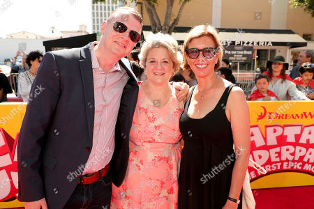 """Producer Mark Swift, Bonnie Arnold, Co-President of Feature Animation at DreamWorks Animation, and Mireille Soria, Co-President of Feature Animation at DreamWorks Animation, seen at DreamWorks Animation and Twentieth Century Fox """"Captain Underpants: The First Epic Movie"""" Los Angeles Premiere at Regency Village Theater, in Los Angels"""