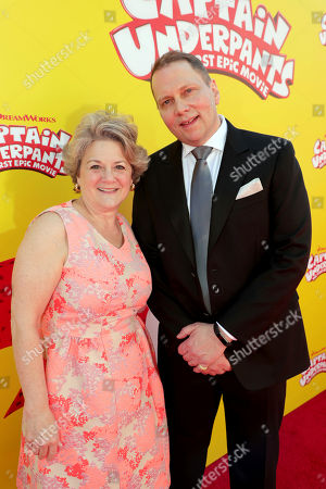 """Bonnie Arnold, DreamWorks President, Feature Animation, and Author Dav Pilkey seen at DreamWorks Animation and Twentieth Century Fox """"Captain Underpants: The First Epic Movie"""" Los Angeles Premiere at Regency Village Theater, in Los Angels"""