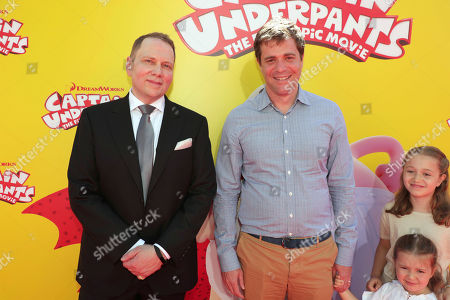 """Author Dav Pilkey and Writer Nicholas Stoller seen at DreamWorks Animation and Twentieth Century Fox """"Captain Underpants: The First Epic Movie"""" Los Angeles Premiere at Regency Village Theater, in Los Angels"""