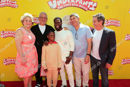 """Bonnie Arnold, Co-President of Feature Animation at DreamWorks Animation, Ron Meyer, Vice Chairman of NBCUniversal, Hendrix Hart, Kevin Hart, Jeff Shell, Chairman of Universal Filmed Entertainment Group, and Chris DeFaria, President, DreamWorks Feature Animation Group, seen at DreamWorks Animation and Twentieth Century Fox """"Captain Underpants: The First Epic Movie"""" Los Angeles Premiere at Regency Village Theater, in Los Angels"""