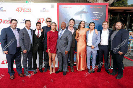 """Chris Johnson, Santiago Segura, Matthew Modine, Claire Holt, Byron Allen, Chairman and CEO of Entertainment Studios, Writer/Director Johannes Roberts, Mandy Moore, Yani Gellman and Executive Producer Wayne Marc Godfrey seen at Entertainment Studios Motion Pictures """"47 Meters Down"""" Los Angeles Premiere at Regency Village Theatre, in Los Angeles"""