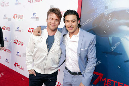"""Stock Image of Luke Hemsworth and Yani Gellman seen at Entertainment Studios Motion Pictures """"47 Meters Down"""" Los Angeles Premiere at Regency Village Theatre, in Los Angeles"""
