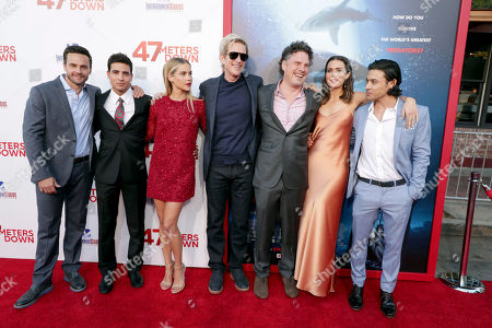"""Chris Johnson, Santiago Segura, Claire Holt, Matthew Modine, Writer/Director Johannes Roberts, Mandy Moore and Yani Gellman seen at Entertainment Studios Motion Pictures """"47 Meters Down"""" Los Angeles Premiere at Regency Village Theatre, in Los Angeles"""
