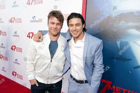 "Luke Hemsworth and Yani Gellman seen at Entertainment Studios Motion Pictures ""47 Meters Down"" Los Angeles Premiere at Regency Village Theatre, in Los Angeles"