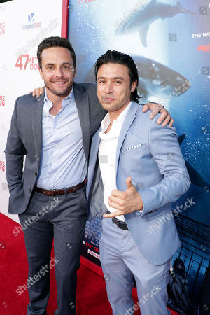"""Chris Johnson and Yani Gellman seen at Entertainment Studios Motion Pictures """"47 Meters Down"""" Los Angeles Premiere at Regency Village Theatre, in Los Angeles"""
