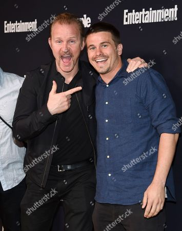 Filmmaker Morgan Spurlock, left, and actor Jason Ritter attend the Entertainment Weekly and People Magazine New York Upfronts celebration at Second Floor, in New York