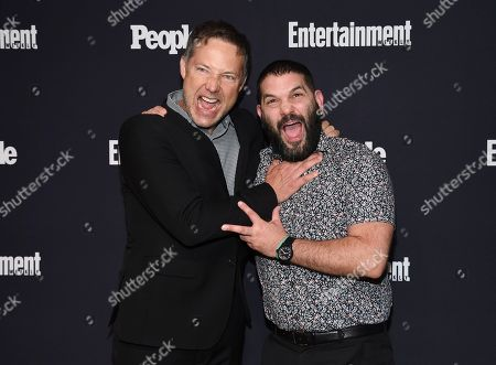 Actors George Newbern, left, and Guillermo Diaz attend the Entertainment Weekly and People Magazine New York Upfronts celebration at Second Floor, in New York