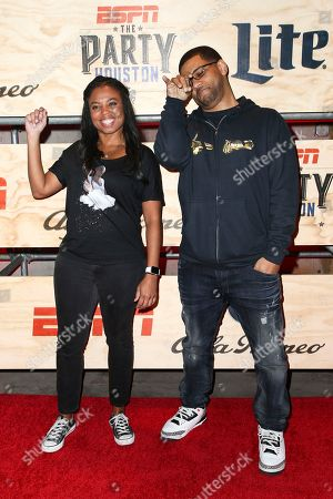 Jemele Hill, left, and Michael Smith attend ESPN: The Party 2017 held, in Houston, Texas