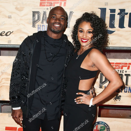 Adrian Peterson, left, and Ashley Brown attend ESPN: The Party 2017 held, in Houston, Texas