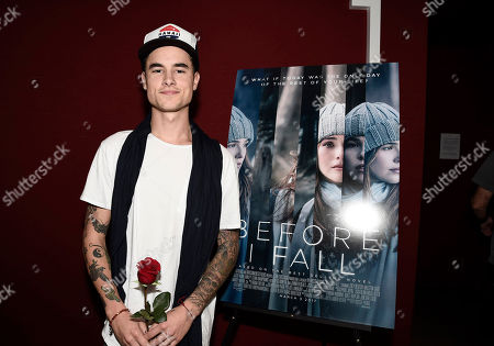 "Kian Lawley seen at Fan Favorite ""Before I Fall"" Holiday, Cupid Day at Laemmle's Monica Film Center, in Santa Monica, Calif"