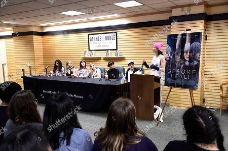 "Medalion Rahimi, Halston Sage, Director Ry Russo-Young, Zoey Deutch, Cynthy Wu, Kian Lawley and Author Lauren Oliver speak at Fan Favorite ""Before I Fall"" Holiday, Cupid Day at Barnes & Noble on Third Street Promenade, in Santa Monica, Calif"