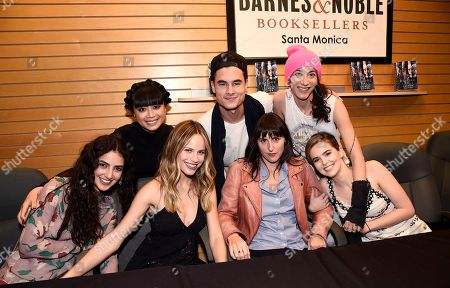 "Medalion Rahimi, Cynthy Wu, Halston Sage, Kian Lawley, Director Ry Russo-Young, Author Lauren Oliver and Zoey Deutch are seen at Fan Favorite ""Before I Fall"" Holiday, Cupid Day at Barnes & Noble on Third Street Promenade, in Santa Monica, Calif"