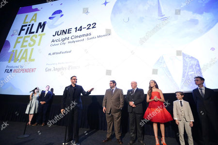 "Jennifer Cochis, Director of the Los Angeles Film Festival, Josh Welsh, President of Film Independent, Director Colin Trevorrow, Bobby Moynihan, Dean Norris, Maddie Ziegler, Jacob Tremblay and Jaeden Lieberher speak at Focus Features ""The Book of Henry"" Premiere at 2017 Los Angeles Film Festival, in Culver City, Calif"