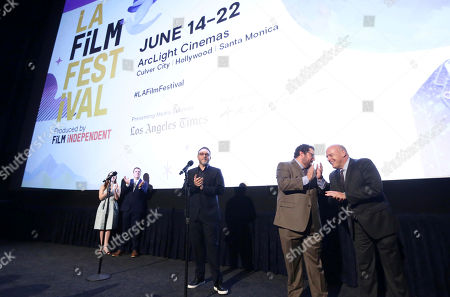 "Jennifer Cochis, Director of the Los Angeles Film Festival, Josh Welsh, President of Film Independent, Director Colin Trevorrow, Bobby Moynihan and Dean Norris speak at Focus Features ""The Book of Henry"" Premiere at 2017 Los Angeles Film Festival, in Culver City, Calif"