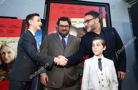 "Jaeden Lieberher, Bobby Moynihan, Jacob Tremblay and Director Colin Trevorrow seen at Focus Features ""The Book of Henry"" Premiere at 2017 Los Angeles Film Festival, in Culver City, Calif"
